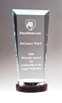 Premium Series Glass Award with Rosewood and Aluminum Base Sales Awards
