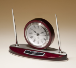 Rosewood Piano Finish Desk Clock and Pen Set with Silver Aluminum Accents Sales Awards