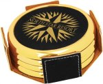 Leatherette Round Coaster Set with Gold Edge -Black  Sales Awards