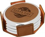 Leatherette Round Coaster Set with Silver Edge -Dark Brown  Sales Awards