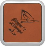 Leatherette Square Coaster with Silver Edge -Rawhide Sales Awards