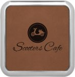 Leatherette Square Coaster with Silver Edge -Dark Brown Sales Awards
