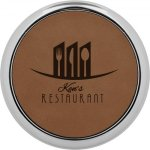 Leatherette Round Coaster with Silver Edge -Dark Brown Sales Awards