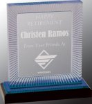 Blue Carved Rectangle Impress Acrylic Sales Awards