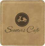 Leatherette Square Coaster -Light Brown Sales Awards