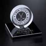 Hockey Puck on Black Glass Base Sales Awards