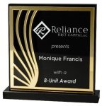 Deep Black Set Off By Gold On Acrylic  With A Black Screened Back Sales Awards
