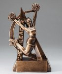 Ultra Action Series Sculpted Antique Gold Resin Trophy -Cheer Female Ultra Action Resin Trophy Awards