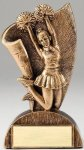 USA Flag Series Resin Trophy -Cheerleader Female USA Flag Series Sculpted Antique Gold Resin Trophy