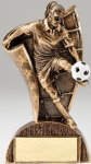 USA Flag Series Resin Trophy -Soccer Female  USA Flag Series Sculpted Antique Gold Resin Trophy