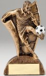 USA Flag Series Resin Trophy -Soccer Male  USA Flag Series Sculpted Antique Gold Resin Trophy