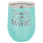 Double Wall Insulated Stainless Steel Stemless Wine Glass -Teal Wine Gifts