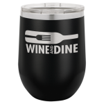 Double Wall Insulated Stainless Steel Stemless Wine Glass -Black Wine Gifts