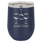 Double Wall Insulated Stainless Steel Stemless Wine Glass -Navy Blue Wine Gifts