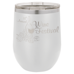 Double Wall Insulated Stainless Steel Stemless Wine Glass -White  Wine Gifts