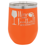 Double Wall Insulated Stainless Steel Stemless Wine Glass -Orange  Wine Gifts