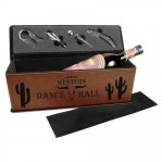 Leatherette Single Wine Box with Tools -Dark Brown Wine Gifts