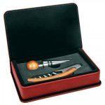 Leatherette 2 Piece Wine Tool Set -Rose' Wine Gifts