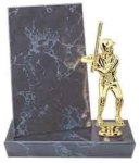Black Marble Finish Stand-up Billboard Plaque Wood Metal Accent Awards