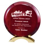 Rosewood Round Award Wood Metal Accent Awards